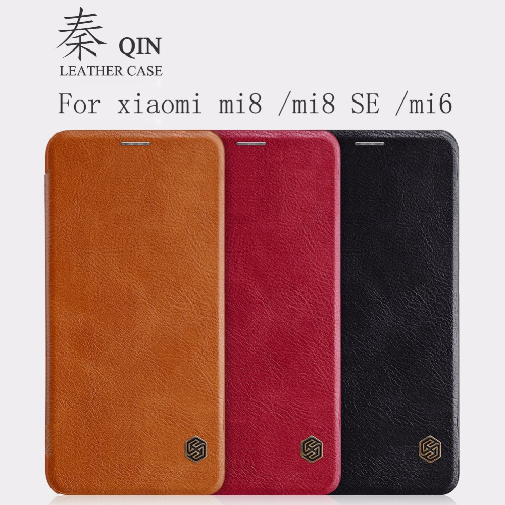 Xiaomi mi 8 custodia in pelle nillkin Qin PROTETTIVA Caso Della Copertura Di vibrazione per mi 8 mi 8 mi 6 con sveglia/ funzione di sonno