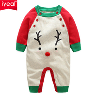 IYEAL Autumn Baby Girls Rompers Cartoon Christmas Deer Knitted Sweaters Toddler Boys Jumpsuit Long Sleeve Newborn Infant Outwear