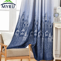Hot Sale Shading Curtain Cartoon Water World Style Curtain Children Room Health And Environmental Protection Printing