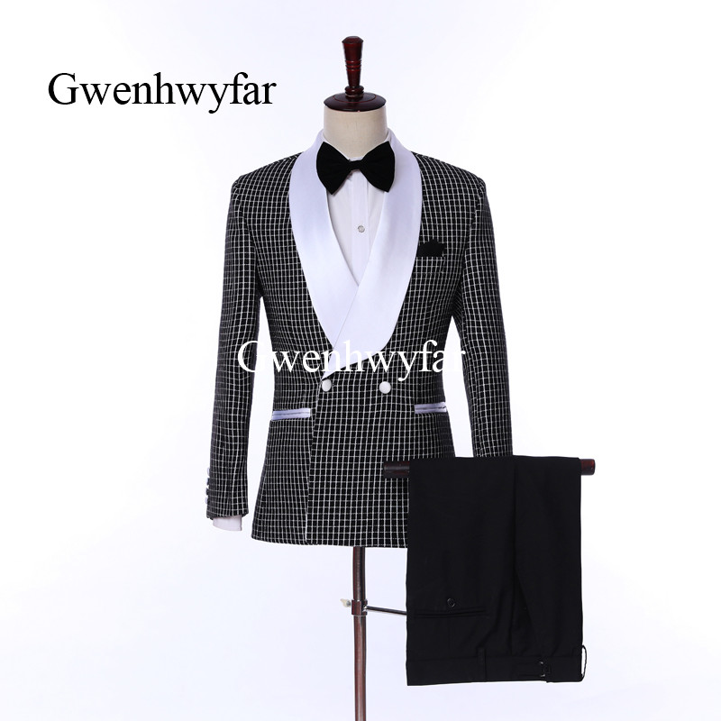 Double Breasted Brown Wedding Suits 2 Pieces Mens Suits Slim Fit Jacket Pants Groom Tuxedos Groomsman