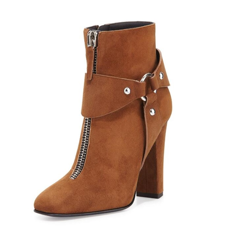 Newest Arrival Brown Suede Ankle Boots Square Heel Woman Autumn Short Boots Metal Decorated Buckles Zipper Ladies Shoes 2018Newest Arrival Brown Suede Ankle Boots Square Heel Woman Autumn Short Boots Metal Decorated Buckles Zipper Ladies Shoes 2018
