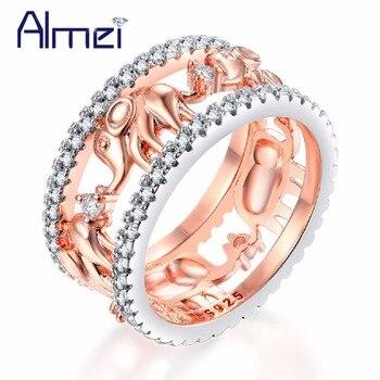 e787fbf6b58c Almei lindo elefante anillos para mujeres anillo de compromiso de boda  joyería oro rosa Color decoración Día de San Valentín regalo RA083