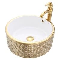 Round Bathroom Lavabo Ceramic Counter Top Wash Basin Cloakroom Mosaic Titanium Porcelain Vessel Sink JY0045