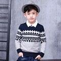 Pioneer niños al por menor de otoño \ invierno de los niños del muchacho rayado ocasional cardigan sweater pullover niños suéter altura para 100-140 cm.