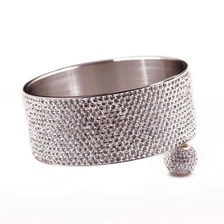 2014 new fashion Stainless steel bracelets & bangles women luxurious paragraph Clear Rhinestone Crystal Jewelry 14 rows - CRYSTAL BEADS store