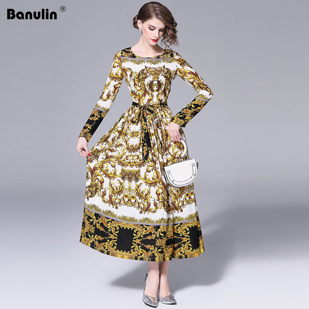 Banulin Runway Dresses Women High Quality Print Long Cotton Dresses For Womens Maxi Dress Party Robe Femme Ete 2019 B8816
