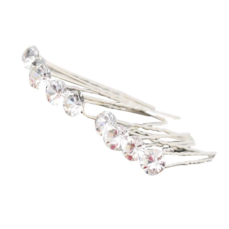 10 Pcs Silver Color Crystal Hairpins Women Wedding Hairwear Accessories Bridal Hair Pins Clips Hair Stick Bijoux Cheveux