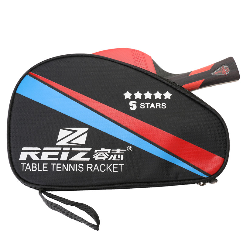 Reiz 5 Star Short or Long Handle Shake-hand Table Tennis Set Red and Black Ping Pong Paddle Table Tennis Racket 1 star with Case