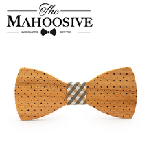 Mahoosive Fashion Men Wooden Bow Tie Accessory Wedding Event Hardwood Wood Bow Tie For Men Butterfly Neck Ties krawatte Gravata