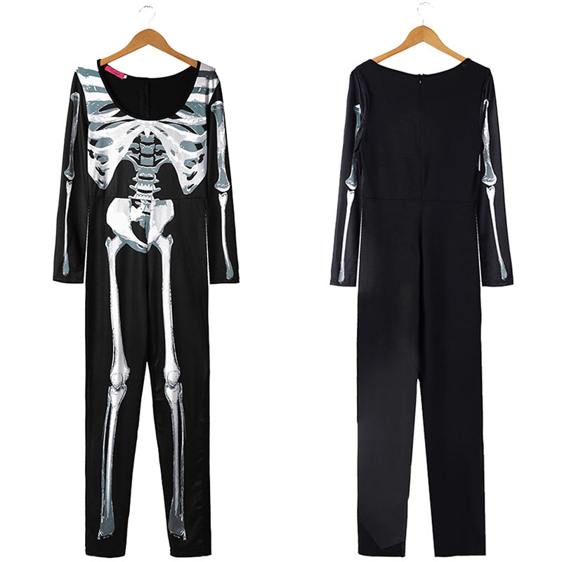 Women Halloween Jumpsuits Costumes Ghost Festival Horror Skeleton Conjoined Gowns Party Sexy Performance Rompers Cosplay Clothes (44)