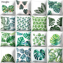 Hongbo Beautiful Leaves Tropical Plants Polyester Cushion Cover Pillow Cover Decorative Pillow Case Home Decor Sofa цены