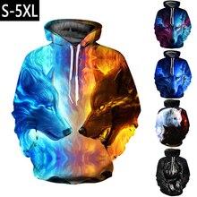 Couple woman and mans Where Light And Dark Meet by JoJoesart Wolf 3D print Hoodies sweatshirts Streetwear Pullover hoody