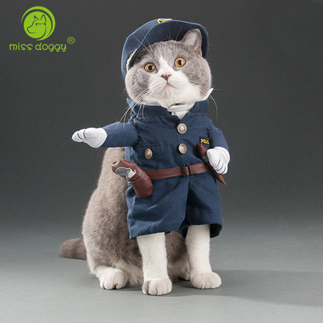 2dc737595f304 Funny Cat Outfits Pet Costumes Cats Suit Spring and Summer Puppy Dog Clothes  Police Fashion Best Selling
