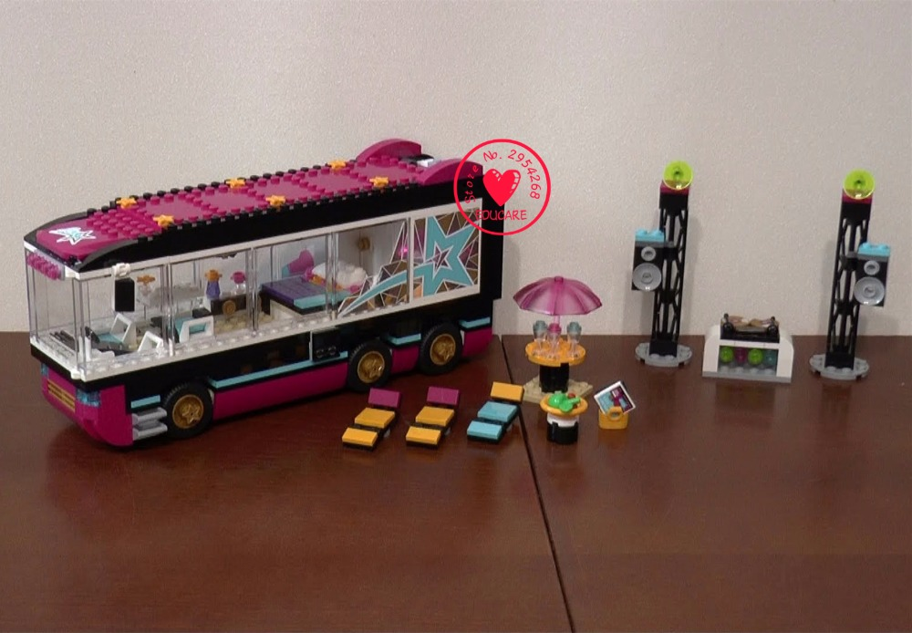 New heartlake Friends girls Pop Star Tour Bus fit legoings friends city model building blocks bricks girls diy toy gift kid set gonlei 10407 friends pop star tour bus building blocks sets bricks toys girl game house gift compatible with