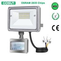GOSUN 10W LED Flood Light 110V 220V Outdoor Lighting IP66 Waterproof PIR Motion Sensor LED Floodlight