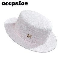 82c12a942c Acapsion Women Wool Fedora Pink White Plaid Short Brim Jazz Caps Woolen Panama  Jazz Cap Bowler