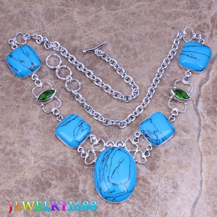 Sparkling Blue Natural Stone 925 Sterling Silver Grade Necklace L722