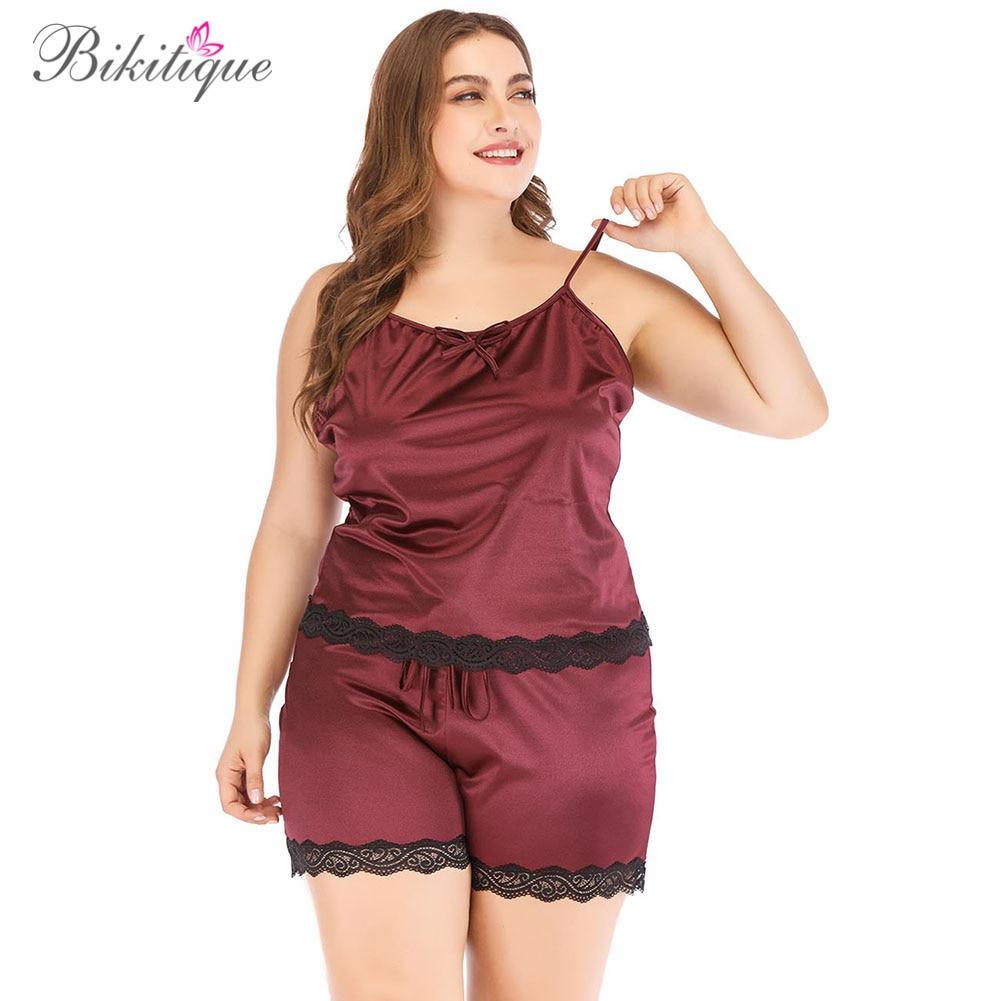 Bikitique Plus Size Cami Shorts   Pajamas     Set   Women Silk Satin Sleeveless Nightwear Sling Backless Homewear Sexy Lace Sleepwear