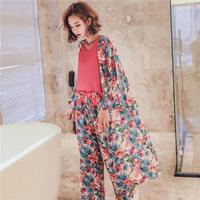 The Spring And Autumn New Korean Long Sleeved Cotton Ladies Casual Sweet Sexy Suspenders Wide Leg