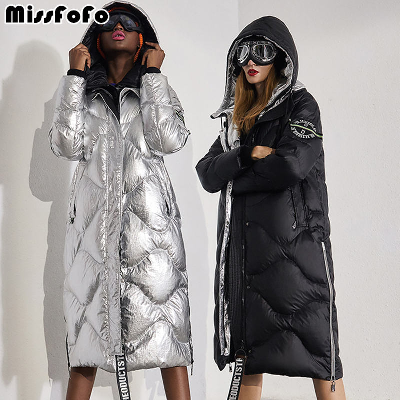 MissFoFo 2019 New Fashion Women's White Duck Down Jacket Zippers Shiny Size XXL Wide-Waisted Silver Black High Quality Metallic