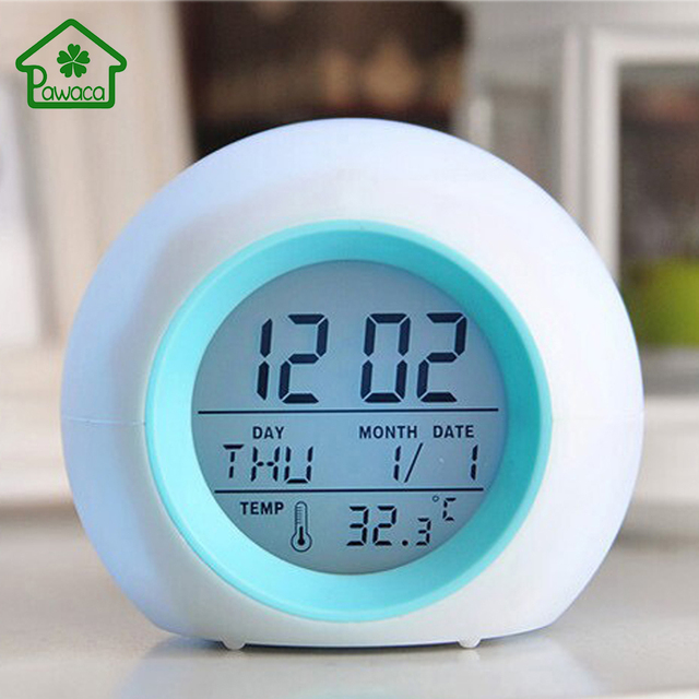 Cute Round 7 Color Backlight Digital LED Alarm Clock Calendar ...