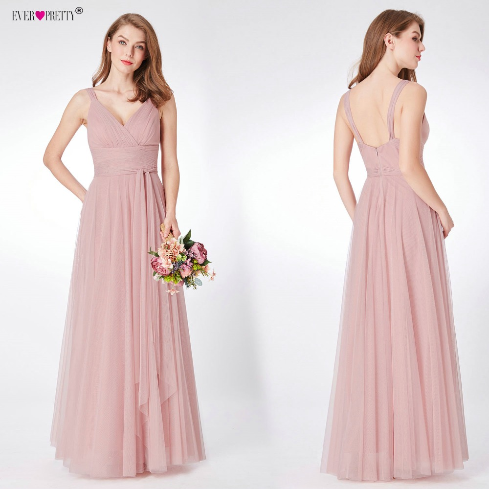 b05f9c0a56b Blush Pink Bridesmaid Dresses Ever Pretty EP07303 Sweetheart A-line V-neck  Sleeveless Wedding Party Dress Elegant for Women ~ Free Delivery May 2019