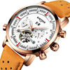 Kinyued Skeleton Tourbillon Mechanical Watch Automatic Men Classic Male Gold Dial Leather Mechanical Wrist Watches J019P