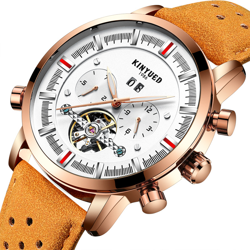 Kinyued Skeleton Tourbillon Mechanical Watch Automatic Men Classic Male Gold Dial Leather Mechanical Wrist Watches J019P-1 kinyued skeleton tourbillon mechanical watch automatic men classic male gold dial leather mechanical wrist watches j026p 2