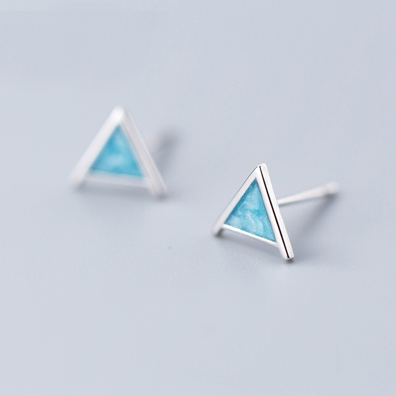 MloveAcc 925 Sterling SilverTriangle Stud Earrings for Women Cute Blue Stud Earring Geometrical Minimalist Small Studs