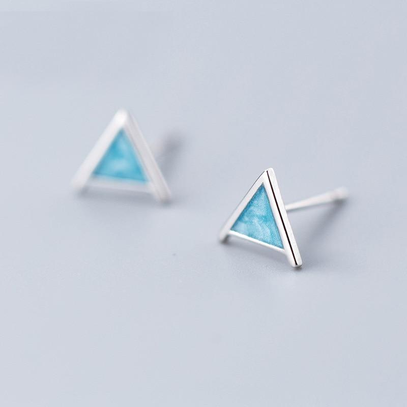 MloveAcc 925 Sterling SilverTriangle Stud Earrings for Women Cute Blue Stud Earring Geometrical Minimalist Small Studs