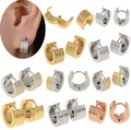 Hot 8pairsX New Fashion PUNK Ghotic Gold Silver Punk Stainless Steel Earring Hoop Huggie Ear Jewelry