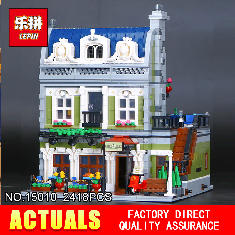 Lepin 15010 2418Pcs Creator Expert City Street Parisian Restaurant Model Building  Blocks Bricks Toy 10243 for Children gifts dhl new 2418pcs lepin 15010 city street parisian restaurant model building blocks bricks intelligence toys compatible with 10243