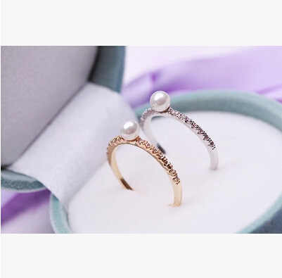 Korean Cubic Zirconia Delicate Ring Fashion Design Shining Lovely Gold Silver Color Rings Jewelry Imitation Pearls Ring Perfect