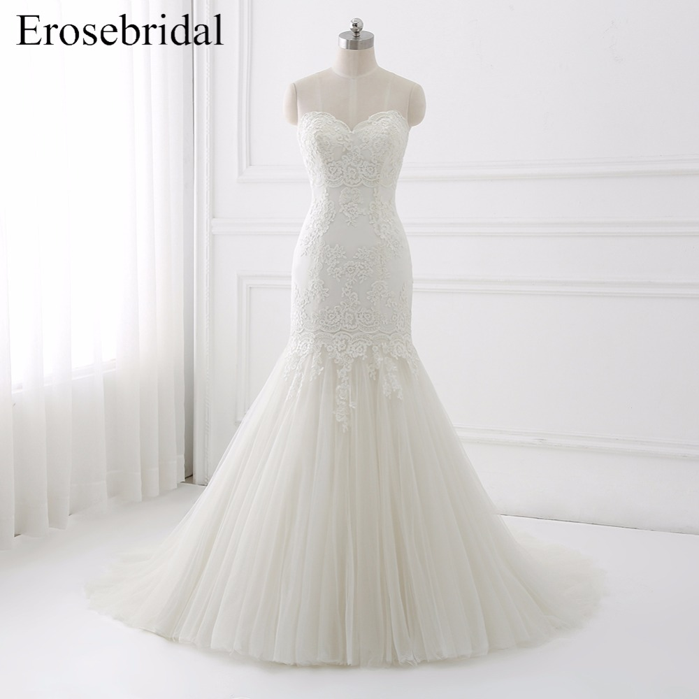 2019 Mermaid Wedding Dresses Erosebridal Lace Dress Elegant Sweetheart Bridal Gown Up Back Vestido De Noiva