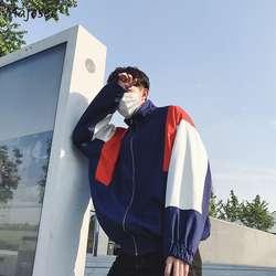 Куртки для мужчин стенд воротник на молнии с принтом букв досуг свободные Harajuku куртка s лоскутное хип хоп Ulzzang высокое качество пальт