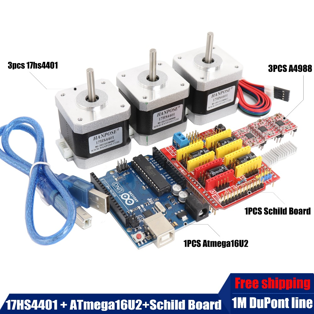 Free shipping 3PCS Nema17 Stepper Motor 17HS4401 Shield Expansion Board ATmega328 3pcs Stepper Driver A4988 for