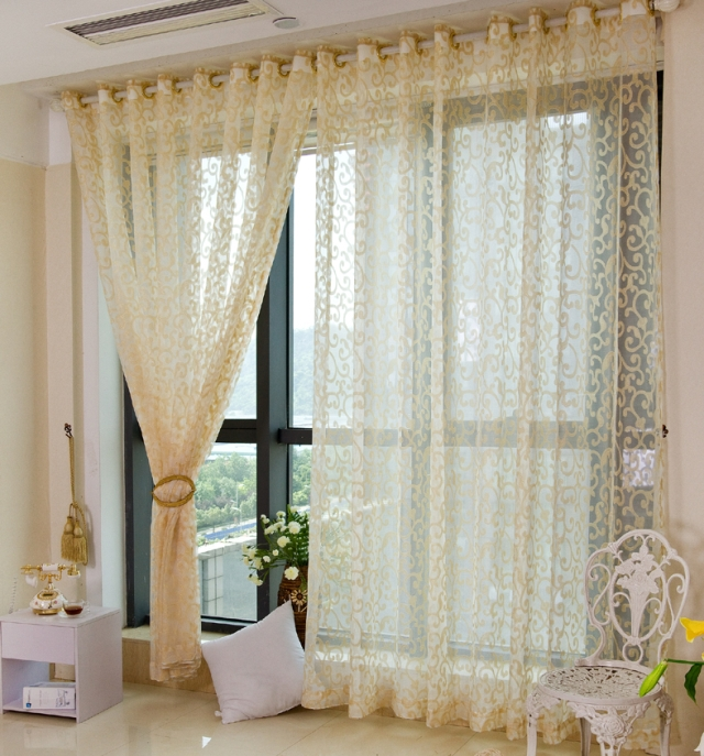 Hot Sale High Grade Pastoral Yellow Sheer Curtains For Living Room Tulle  Curtains Modern Cotton