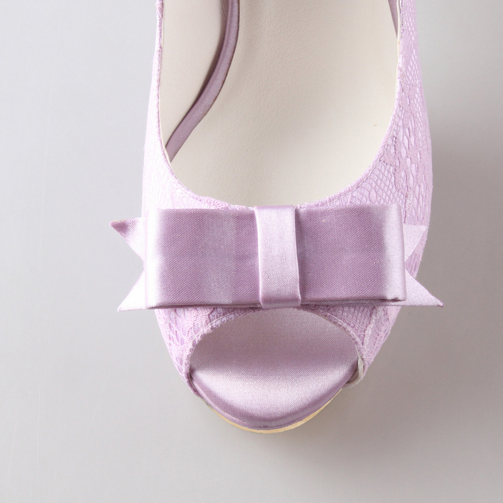 Creativesugar light purple lavender lilac lace sweet bow open toe woman  shoes bridal bridesmaid wedding prom pumps platform heel-in Women s Pumps  from Shoes ... 0628e2e85a46