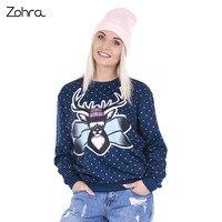 Zohra 2016 New Fashion Women Hoodies Tracksuit Freeride Deer PrintedLong Sleeve Sudaderas Mujer Pullovers Hoodie Sweatshirts