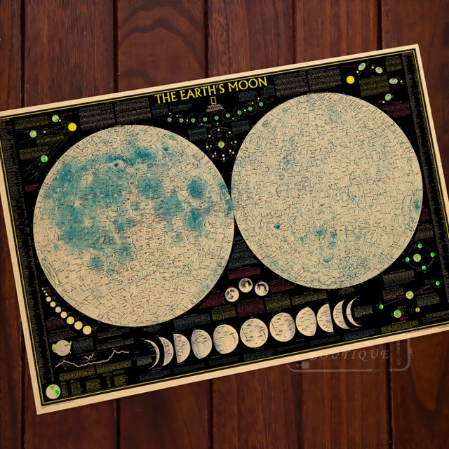 The Earths Moon Phase Diagram Map Classic Vintage Retro Kraft