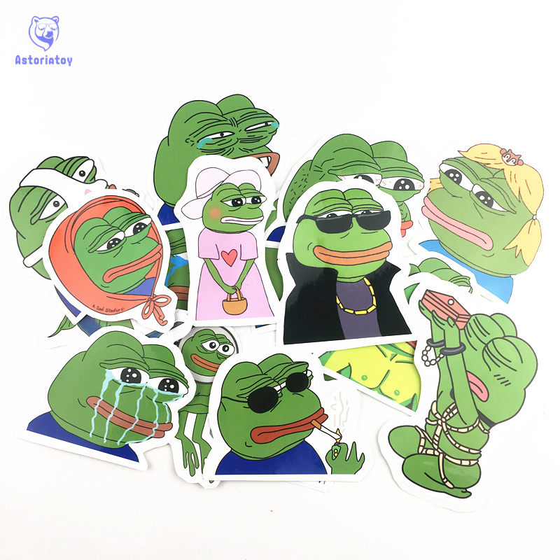 17pcs lot Sad Pepe the Frog Notebook refrigerator skateboard trolley case decals backpack Tables waterproof PVC