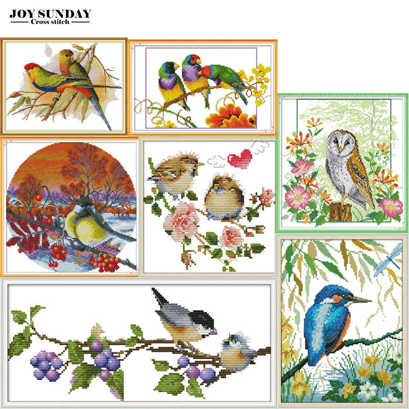 Joy Sunday Embroidery Counted Cross Stitch Kits 14ct 11ct Needlework DIY DMC Cross Stitch Animals Kits  Printed Canvas Painting