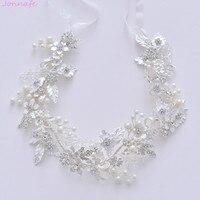 Jonnafe Generous Silver Leaf Hair Ornaments Bridal Tiara Rhinestone Wedding Hair Crown Accessories Women Prom Hairband