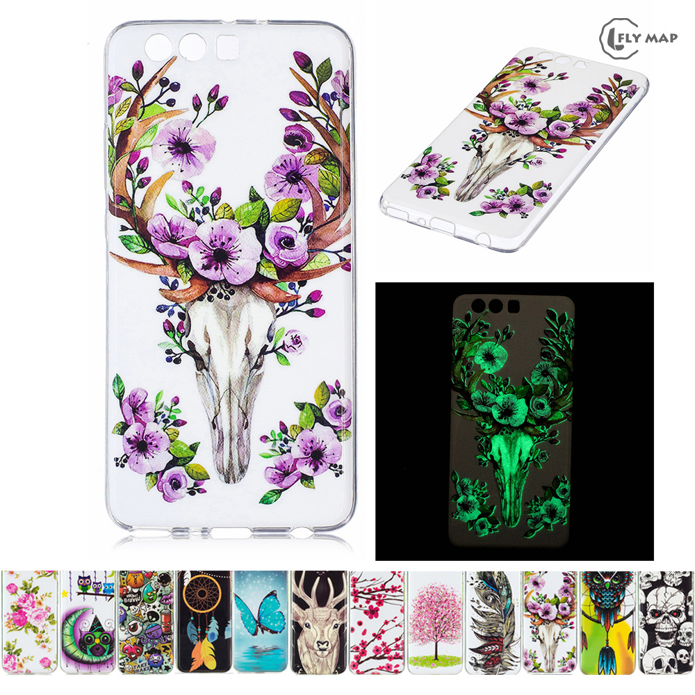 Luminous Case for Huawei P10 Plus VKY-L29 VKY-L09 Soft Silicone Floral Protect Cover for ...