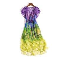 Women Pure Silk Dress Summer Natural Silk Dresses Short Sleeve Print Casual Holiday Knee Length V Neck Real Silk Dress