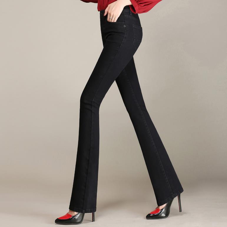 2017 Neue Hohe Taille Großen Größe Flare Jeans Frauen Hosen Breites Bein Gerade Hosen