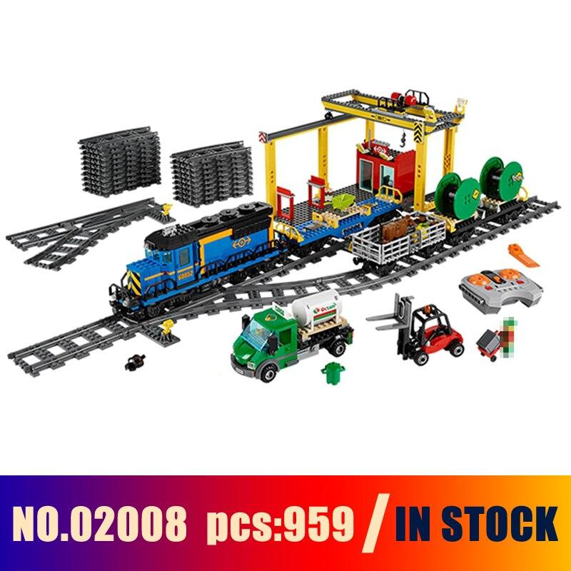 Models Building Toy Explorers Cargo Train Figure 959pcs 02008 Building Blocks Compatible Lego City 60052 Toys & Hobbies