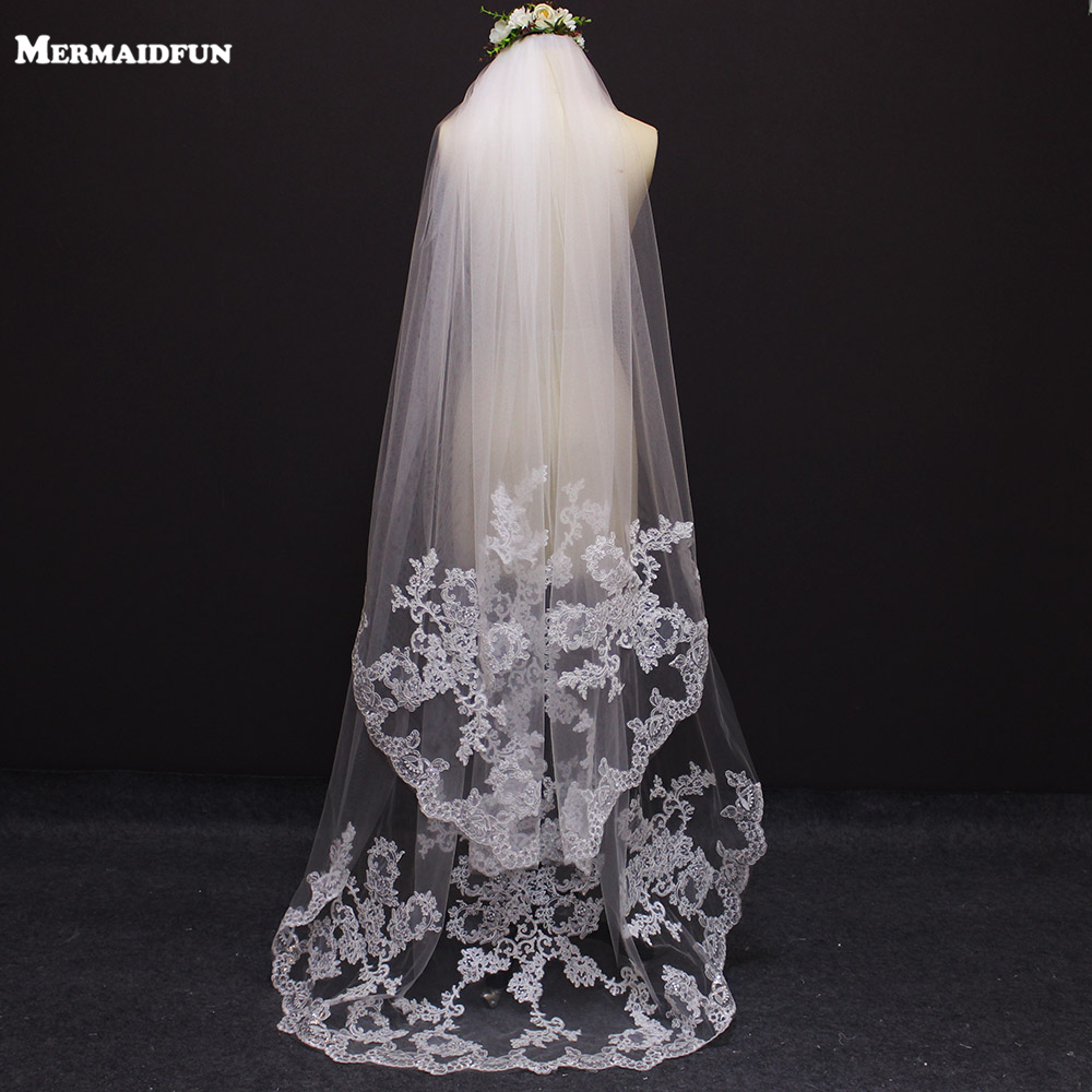 2019 New 2 Meters 2 Layers Lace Appliques Wedding Veil With Comb Beautiful White Ivory Bridal Veil-in Bridal Veils from Weddings & Events    1