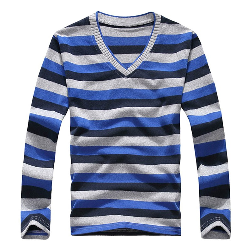 New Arrival Striped Green White Black Sweater 2018 Mens Long-sleeved Stripes Sweaters V-neck FashionHot Men Pullover