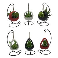 6 PCS Set Cute Coloful Ceramic Succulent Cactus Flower Pot Hanging Planter for Home Garden Office Desktop Decoration